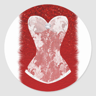 Glam Red & White Holiday Lingerie Shower Favor Classic Round Sticker