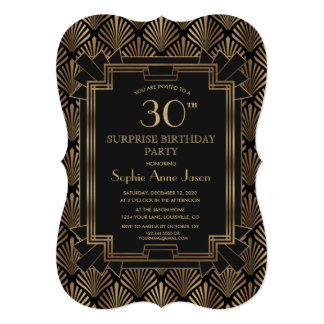 Glam Roaring 20's Great Gatsby Art Deco Birthday Card