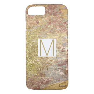 Glam Rose and Gold Sparkle Abstract Monogram iPhone 8/7 Case