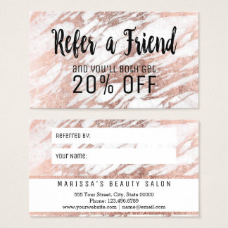 Glam Rose Gold White Marble Referral Card
