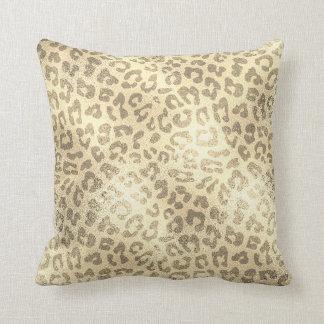 Glam Sepia Gold Animal Lampart Skin Luxury Cushion