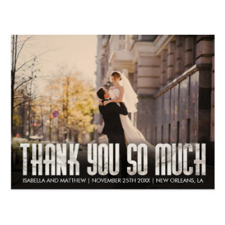 Glam Shiny White Marble Thank You So Much Image Postcard