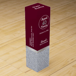 Glam Silver and Maroon Custom Birthday Wine Box Wine Bottle Boxes