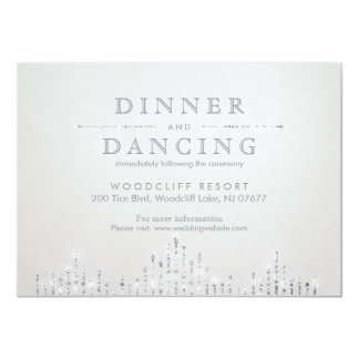 Glam silver art deco vintage wedding reception 11 cm x 16 cm invitation card