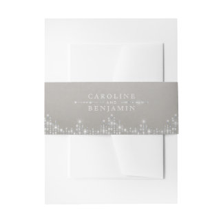 Glam silver glitter deco vintage wedding invitation belly band