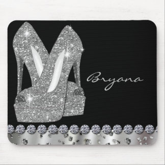 Glam Silver Glitter High Heels Shoes Mouse Pad