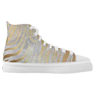 Glam Silver Gray Diamond Sequin Gold Zebra Skin High Tops