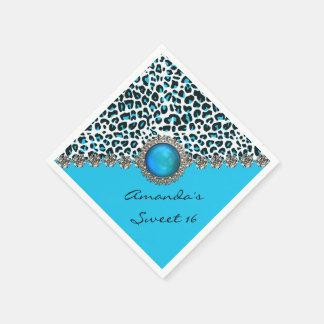 Glam Snow Leopard Sweet 16 Custom Birthday Napkins Disposable Serviette