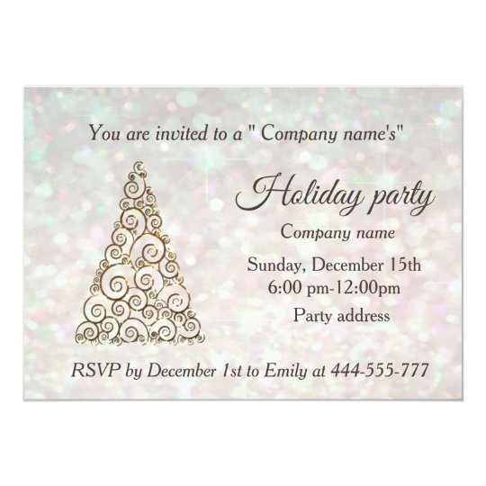 Glam sparkle Christmas tree company holiday party Card