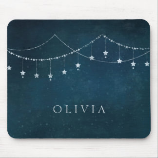 Glam Strings of Silver Stars Garlands at Night Mouse Pad