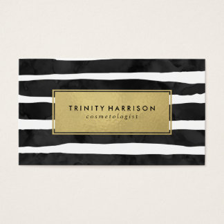 Glam Stripes | Chic Faux Gold Foil Business Card