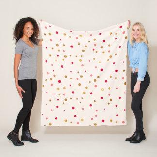 Glam stylish gold glitter pink polka dots fleece blanket