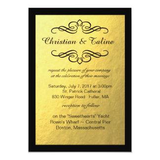 Glam Swirly Flourish Gold Foil Black Border 13 Cm X 18 Cm Invitation Card