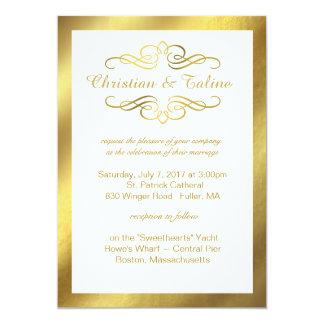 Glam Swirly Flourish Gold Foil Outline Wedding 13 Cm X 18 Cm Invitation Card
