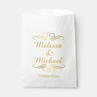 Glam Swirly Flourish Gold Foil Thank You Favour Bags