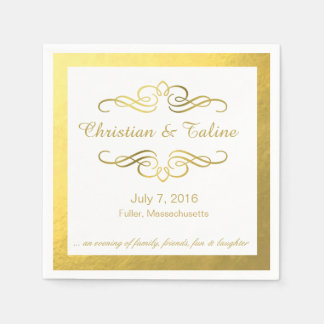 Glam Swirly Flourish Gold Outline Wedding Disposable Napkin