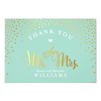 GLAM THANK YOU rustic gold confetti mint white 9 Cm X 13 Cm Invitation Card
