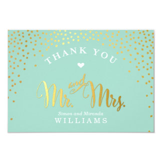 GLAM THANK YOU rustic gold confetti mint white Card