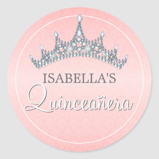 Glam Tiara Quinceanera Celebration Invitation Classic Round Sticker