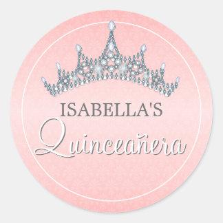 Glam Tiara Quinceanera Celebration Invitation Round Sticker
