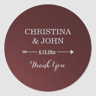 Glam Upscale Marsala and Silver Wedding Thank You Round Sticker