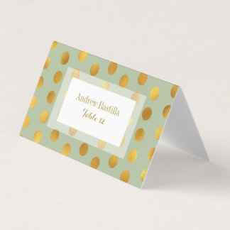 Glam Wedding Table Number | Gold Dots Sage Place Card