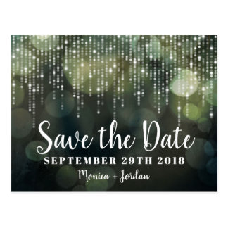 Glam White Fairy Lights black green SAVE THE DATE Postcard