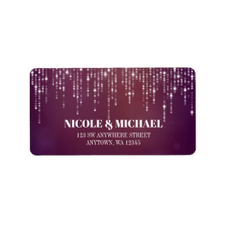 Glam White Fairy Lights purple pink bokeh Label
