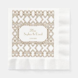 Glam White Gold Great Gatsby Wedding Disposable Serviette