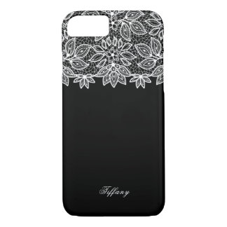 Glam White Lace on Black iPhone 8/7 Case