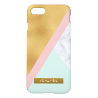 Glam White Marble Faux Gold Foil and Pink Mint iPhone 8/7 Case
