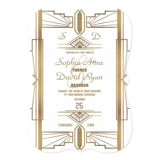 Glam White Roaring 20's Great Gatsby Wedding Card