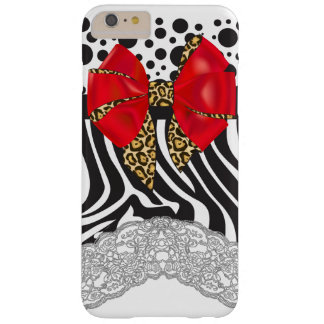 Glam Zebra Print, Polka Dots and Red Leopard Bow Barely There iPhone 6 Plus Case