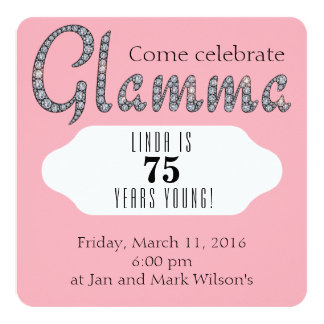 Glamma bling custom invitation