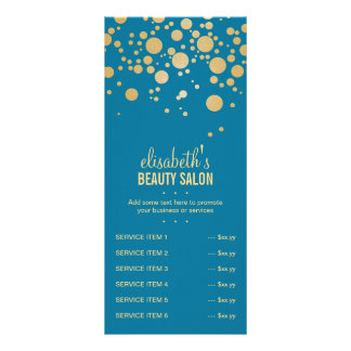 Glamor Gold Dots Decor - Retro Peacock Blue Color Customised Rack Card