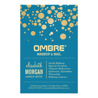 Glamor Gold Dots Decor - Retro Peacock Blue Color Flyer