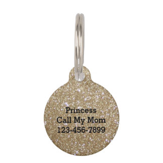 Glamor golden Glitz Bokeh lights gold glitter Pet Name Tag