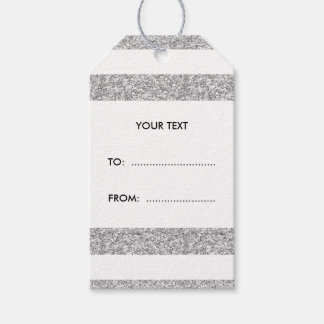 Glamor White Stripes with Silver Glitter Printed Gift Tags
