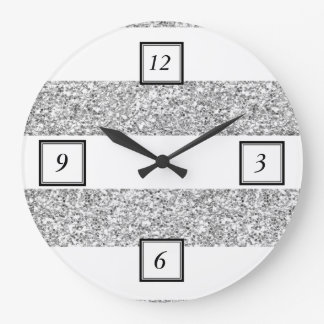 Glamor White Stripes with Silver Glitter Printed Large Clock