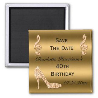 Glamorous 40th Save The Date Gold Stiletto Fridge Magnet