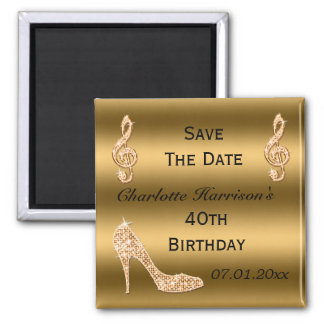 Glamorous 40th Save The Date Gold Stiletto Square Magnet