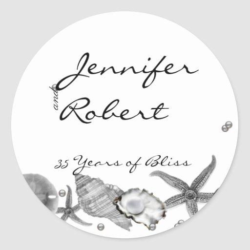 Glamorous Beach in Silver Envelope Seal Round Stickers