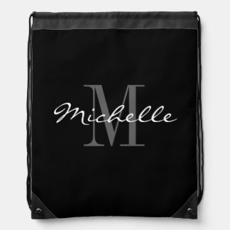 Glamorous black and white monogram drawstring bag