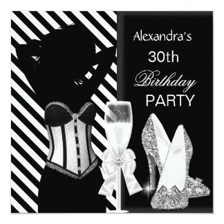 Glamorous Black White Stripe Birthday Party Card