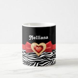 Glamorous Black white zebra print, red bow & jewel Basic White Mug