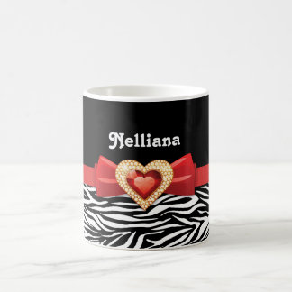 Glamorous Black white zebra print, red bow & jewel Coffee Mug