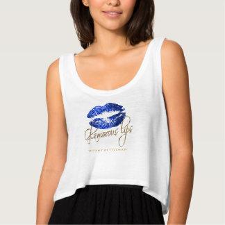 Glamorous Blue Glitter Lips 3 Singlet