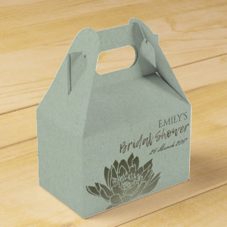 GLAMOROUS BLUE SILVER LOTUS FLORAL BRIDAL SHOWER FAVOUR BOX