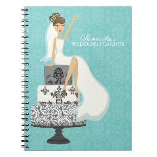 Glamorous Brunette Bride Wedding Planner Spiral Notebook