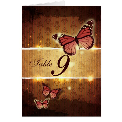 glamorous Butterfly Fall Wedding Table Number card